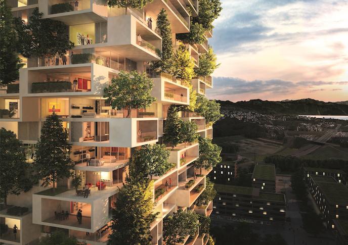 【花粉症アウト】スイスで建設中の住居と杉が一体化したビルが凄いカッコイイ